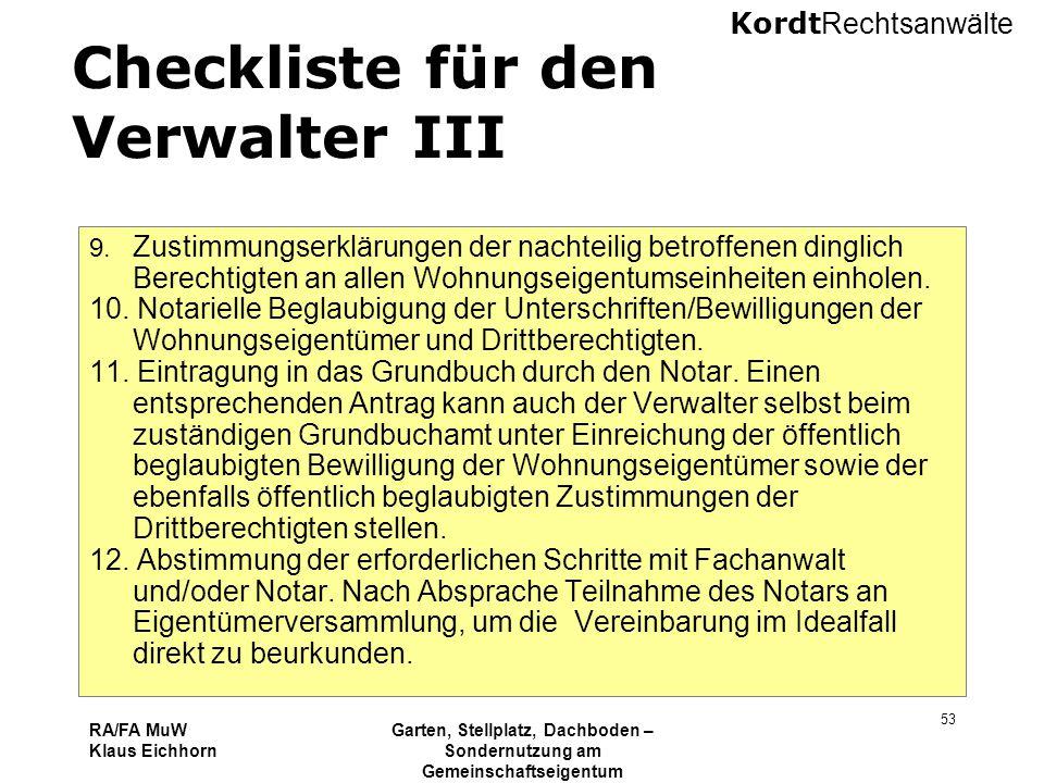Checkliste für den Verwalter III
