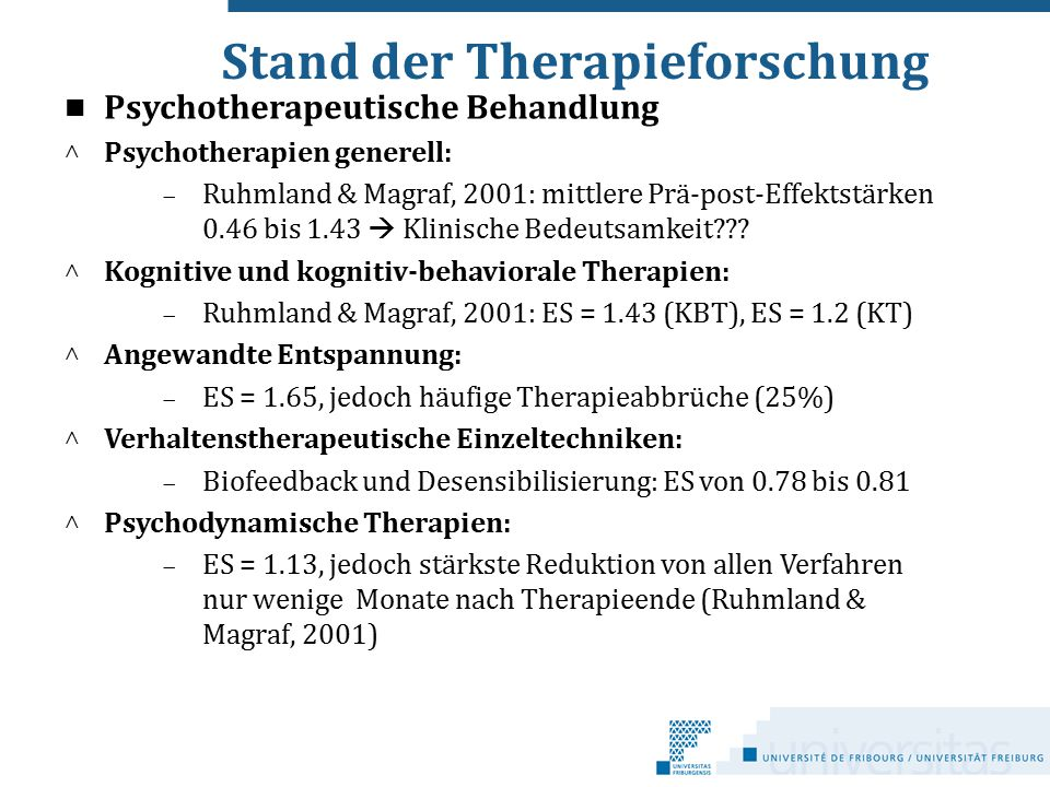 Stand der Therapieforschung