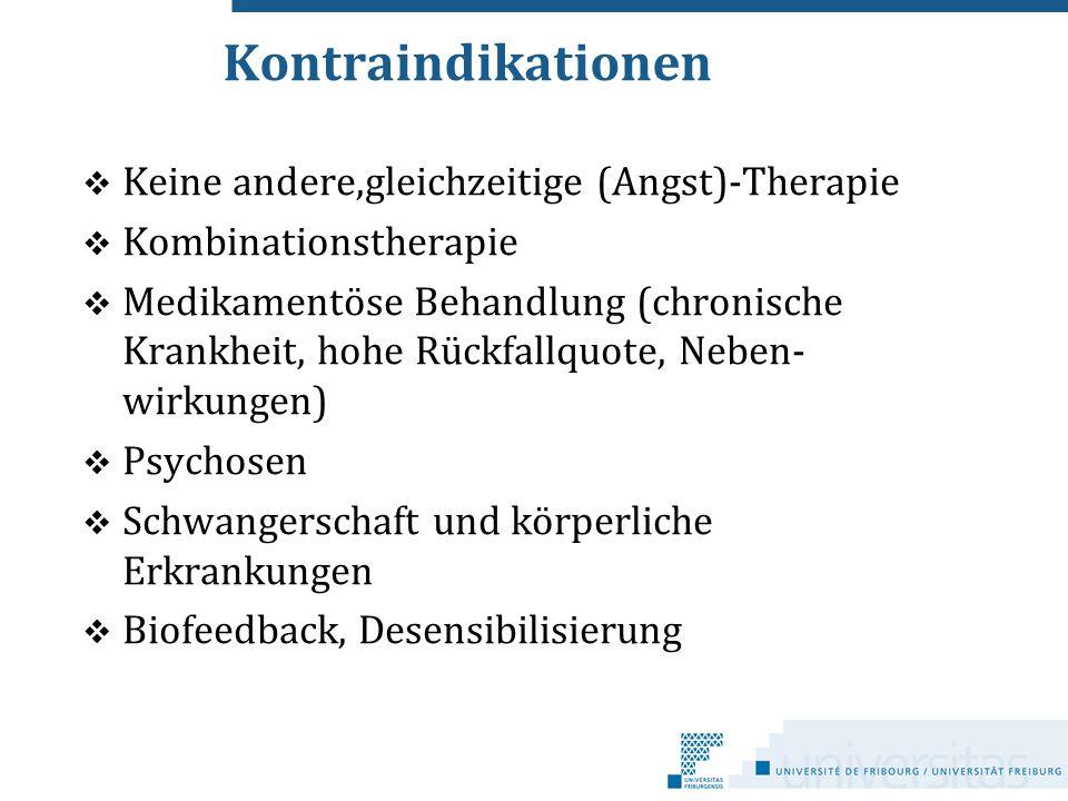Kontraindikationen Keine andere,gleichzeitige (Angst)-Therapie