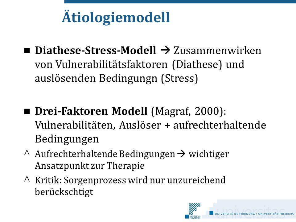 Ätiologiemodell Diathese-Stress-Modell  Zusammenwirken von Vulnerabilitätsfaktoren (Diathese) und auslösenden Bedingungn (Stress)