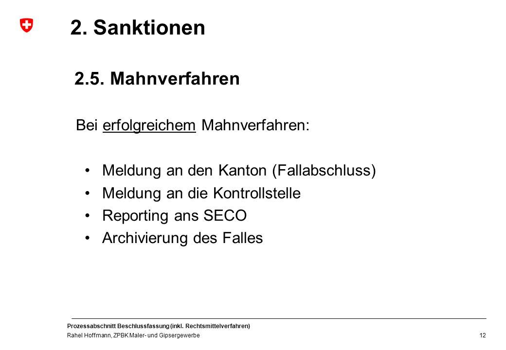 2. Sanktionen 2.5. Mahnverfahren Bei erfolgreichem Mahnverfahren: