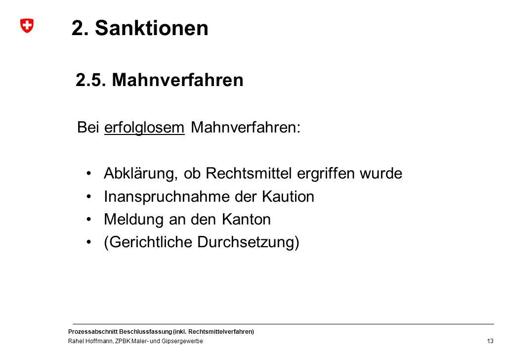 2. Sanktionen 2.5. Mahnverfahren Bei erfolglosem Mahnverfahren: