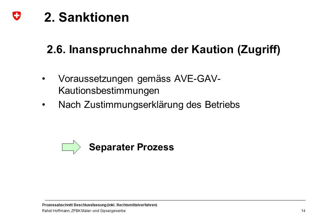 2. Sanktionen 2.6. Inanspruchnahme der Kaution (Zugriff)
