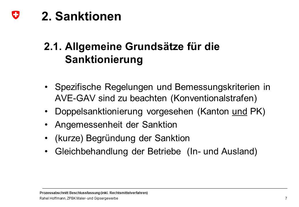 2. Sanktionen 2.1. Allgemeine Grundsätze für die Sanktionierung