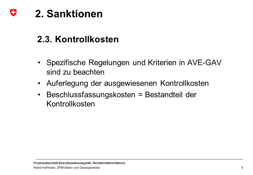2. Sanktionen 2.3. Kontrollkosten