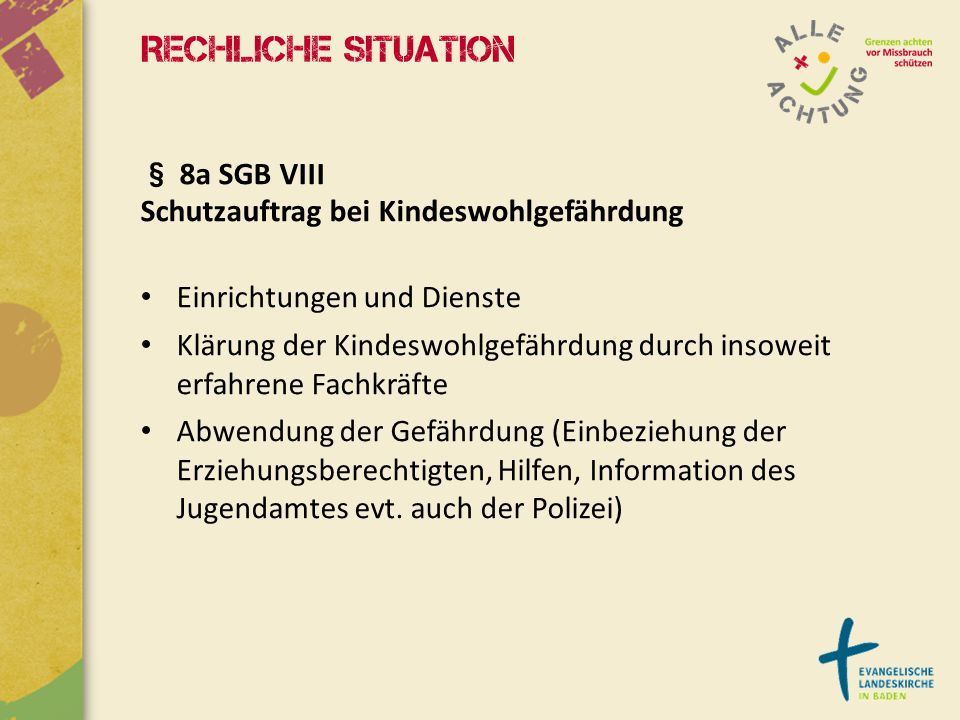 Rechliche Situation § 8a SGB VIII