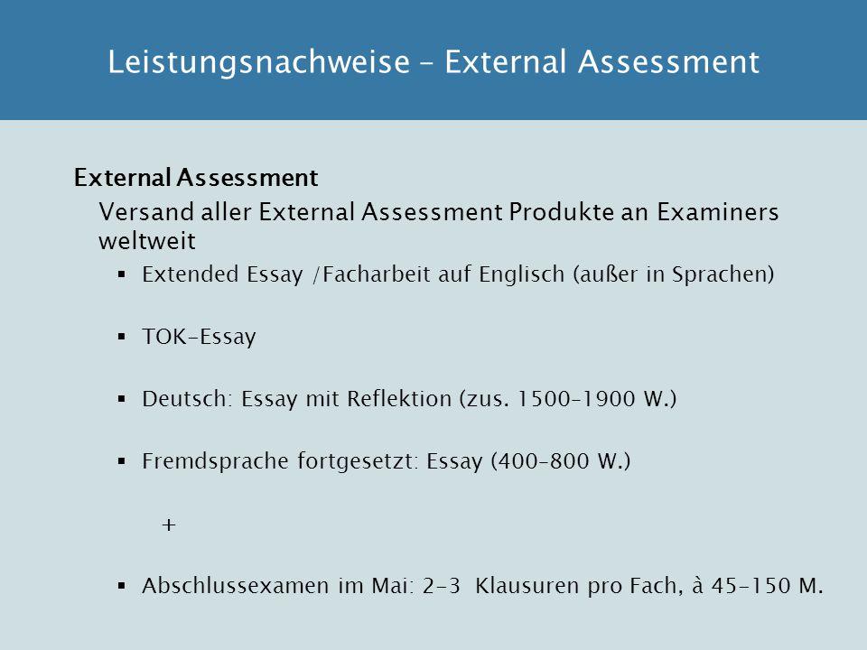 Leistungsnachweise – External Assessment