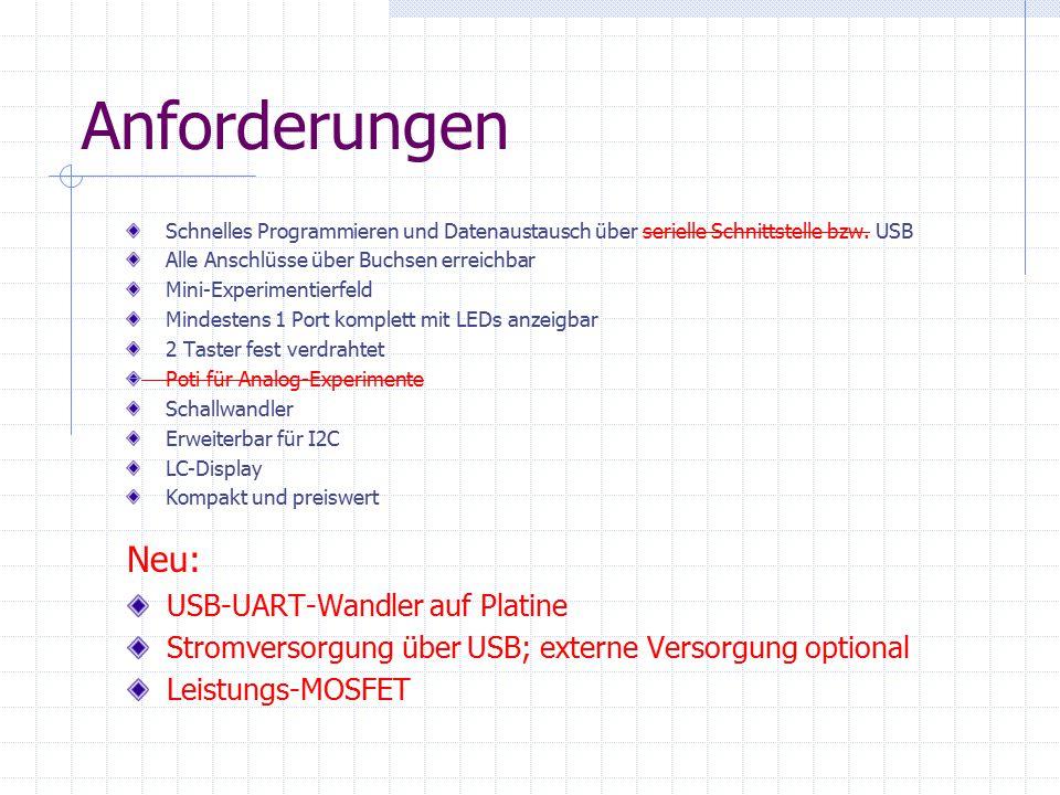 Anforderungen Neu: USB-UART-Wandler auf Platine