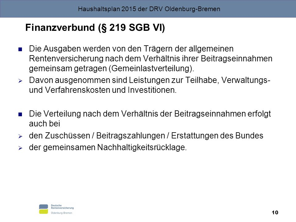 Finanzverbund (§ 219 SGB VI)