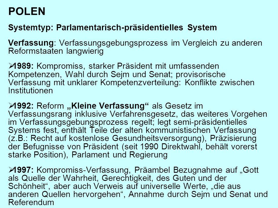 POLEN Systemtyp: Parlamentarisch-präsidentielles System