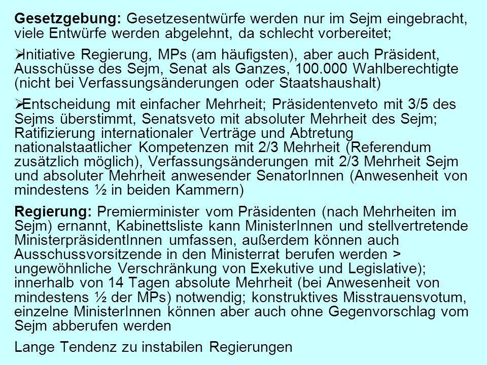 Gesetzgebung: Gesetzesentwürfe werden nur im Sejm eingebracht, viele Entwürfe werden abgelehnt, da schlecht vorbereitet;