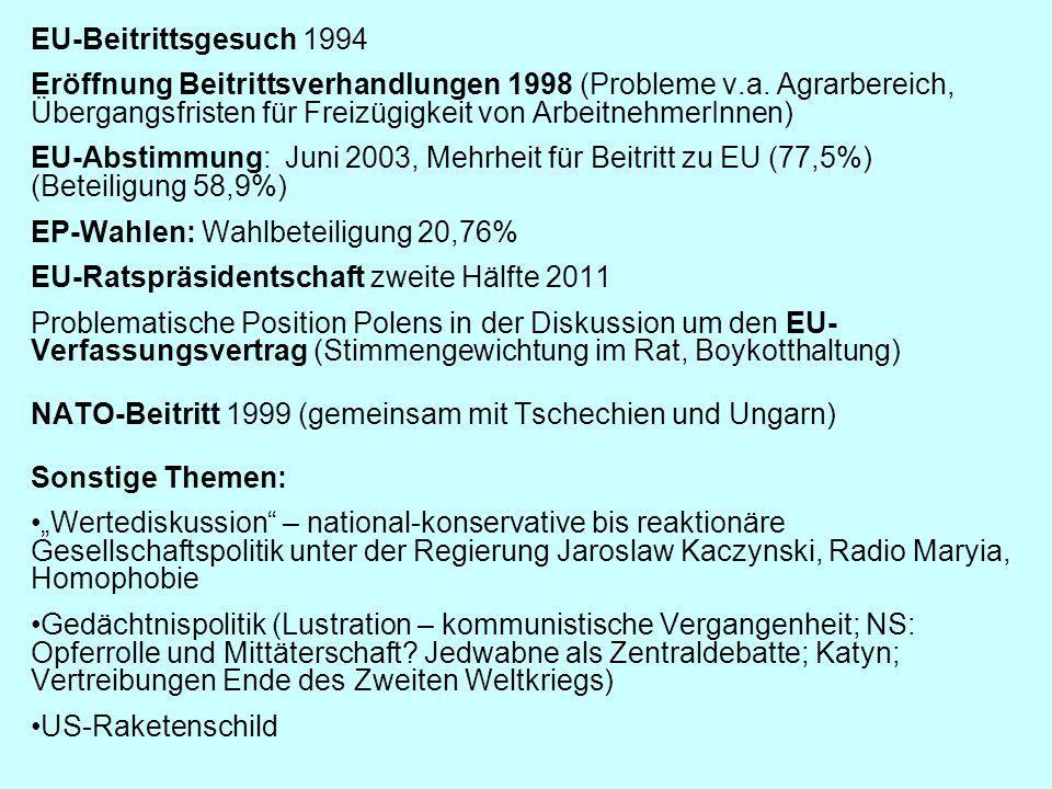 EU-Beitrittsgesuch 1994 Eröffnung Beitrittsverhandlungen 1998 (Probleme v.a. Agrarbereich, Übergangsfristen für Freizügigkeit von ArbeitnehmerInnen)