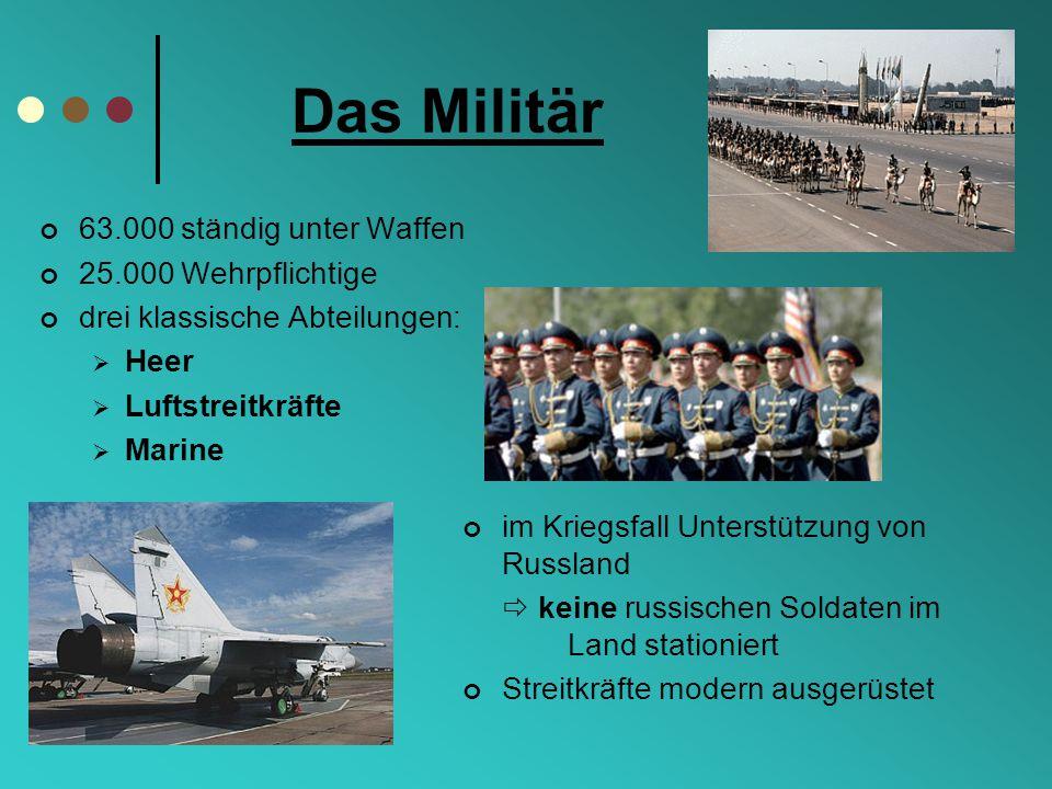 Das Militär 63.000 ständig unter Waffen 25.000 Wehrpflichtige