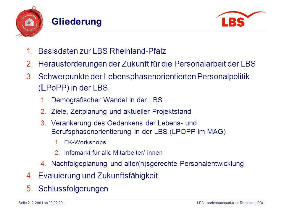 Gliederung Basisdaten zur LBS Rheinland-Pfalz