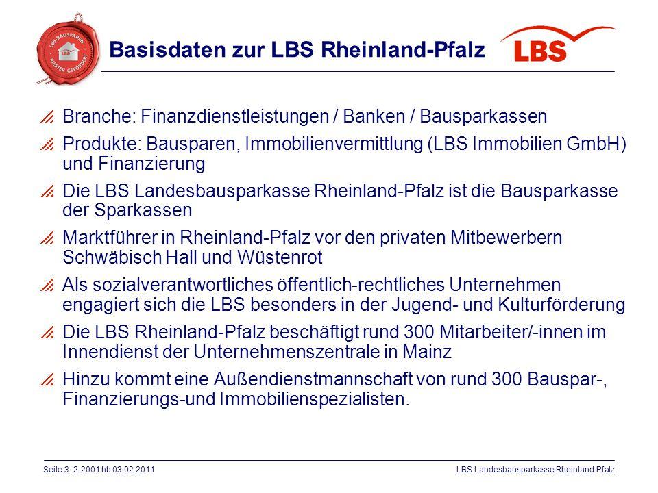 Basisdaten zur LBS Rheinland-Pfalz