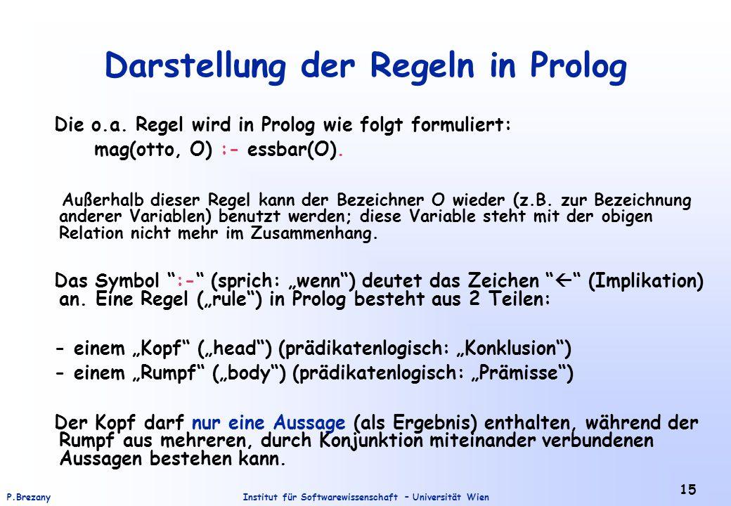 Darstellung der Regeln in Prolog