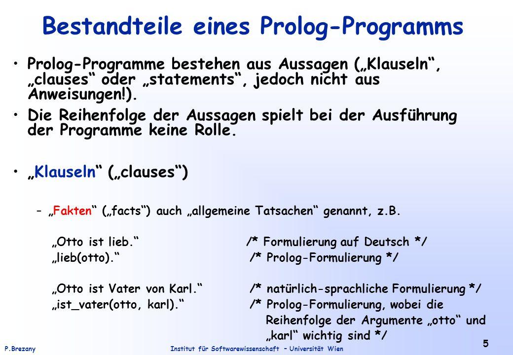 Bestandteile eines Prolog-Programms