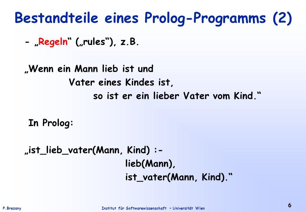 Bestandteile eines Prolog-Programms (2)