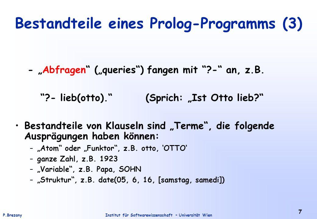 Bestandteile eines Prolog-Programms (3)