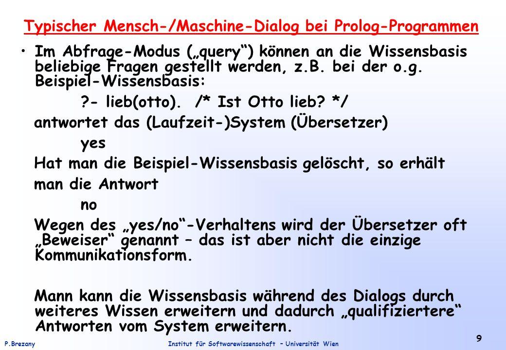 Typischer Mensch-/Maschine-Dialog bei Prolog-Programmen