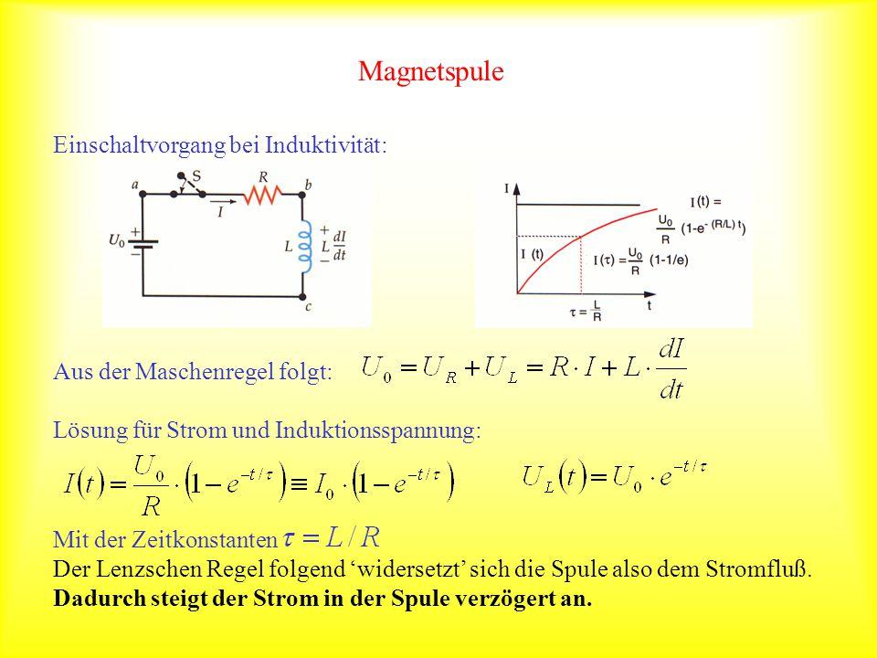 Magnetspule Einschaltvorgang bei Induktivität: