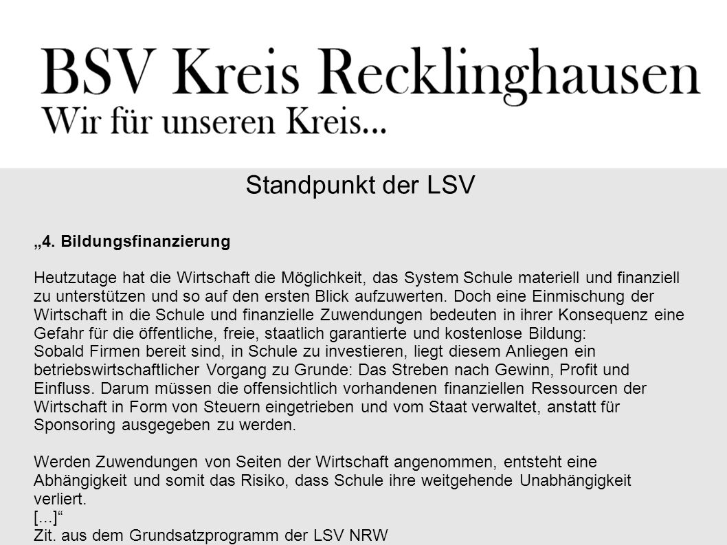 """Standpunkt der LSV """"4. Bildungsfinanzierung"""
