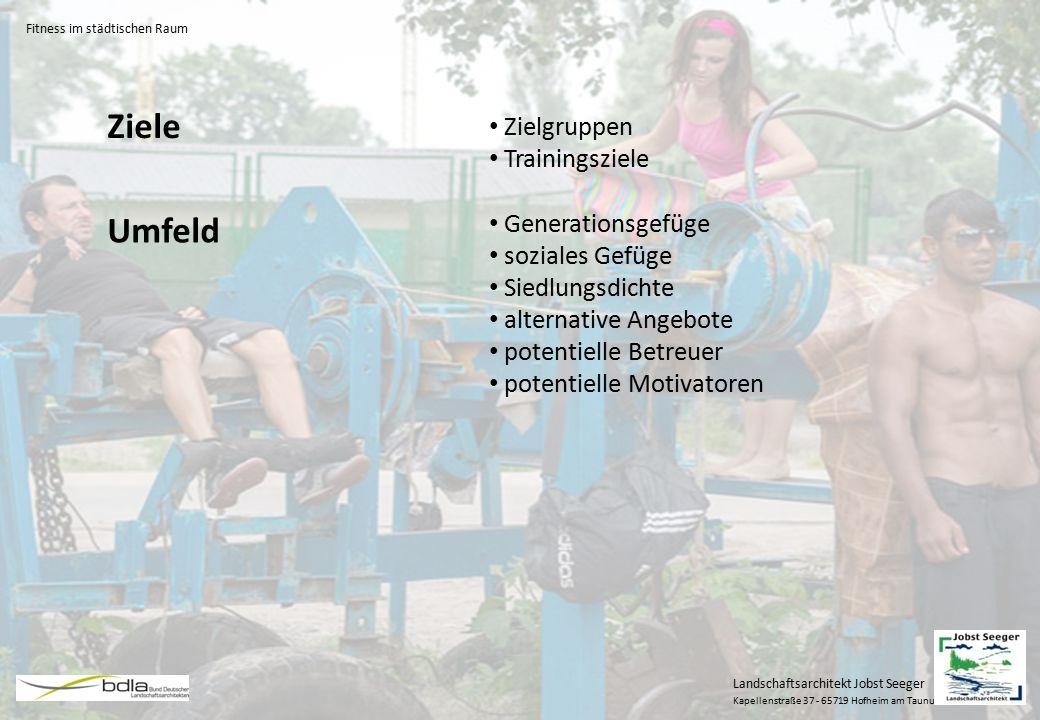 Ziele Umfeld Zielgruppen Trainingsziele Generationsgefüge