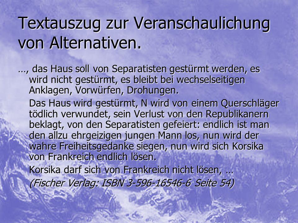 Textauszug zur Veranschaulichung von Alternativen.
