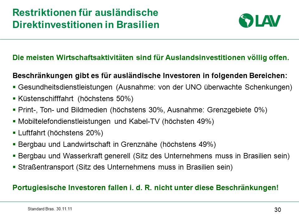 Restriktionen für ausländische Direktinvestitionen in Brasilien