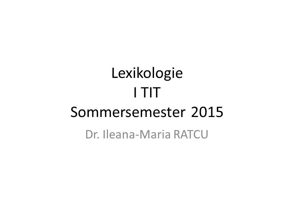 Lexikologie I TIT Sommersemester 2015