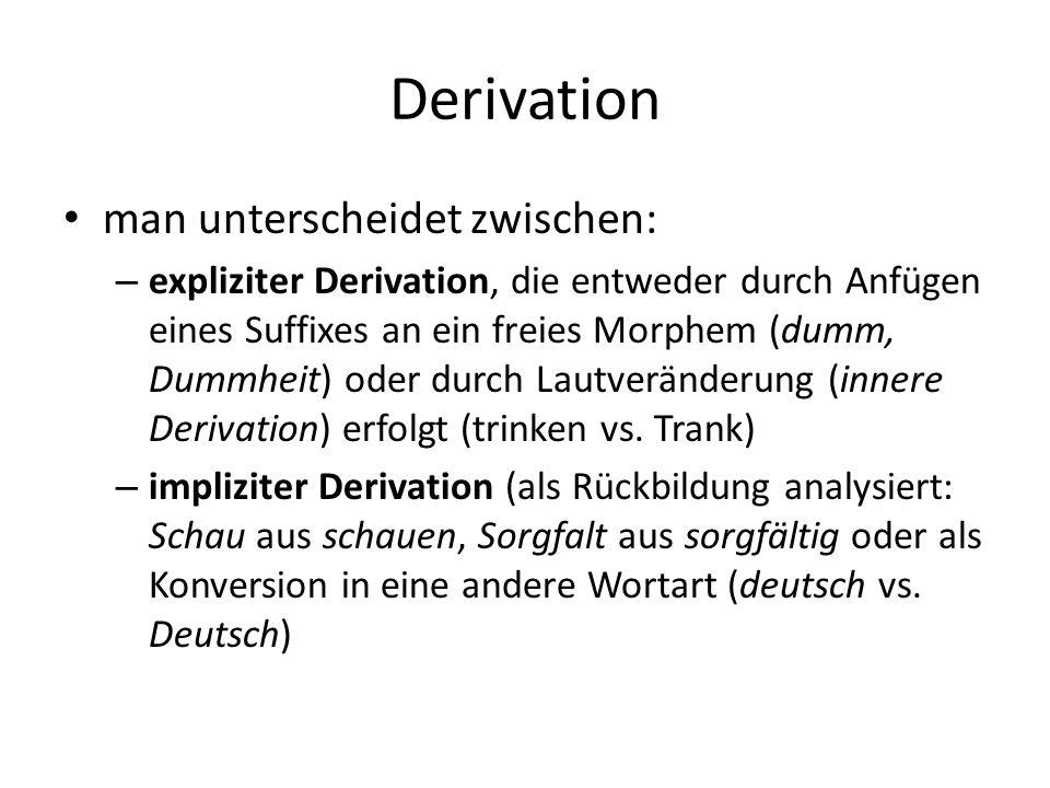 Derivation man unterscheidet zwischen: