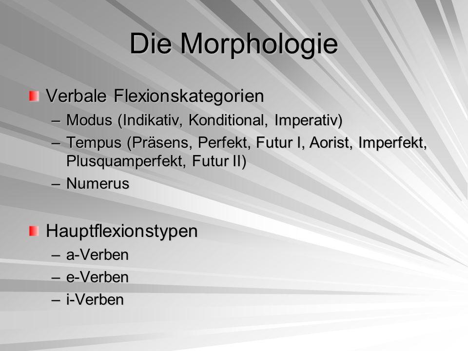 Die Morphologie Verbale Flexionskategorien Hauptflexionstypen
