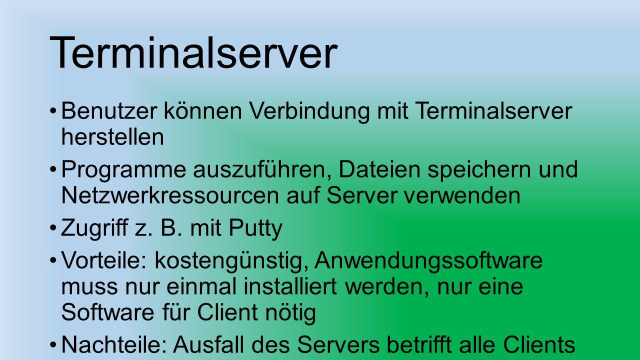 Terminalserver Benutzer können Verbindung mit Terminalserver herstellen.