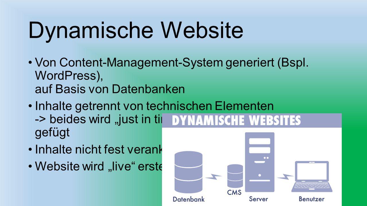 Dynamische Website Von Content-Management-System generiert (Bspl. WordPress), auf Basis von Datenbanken.