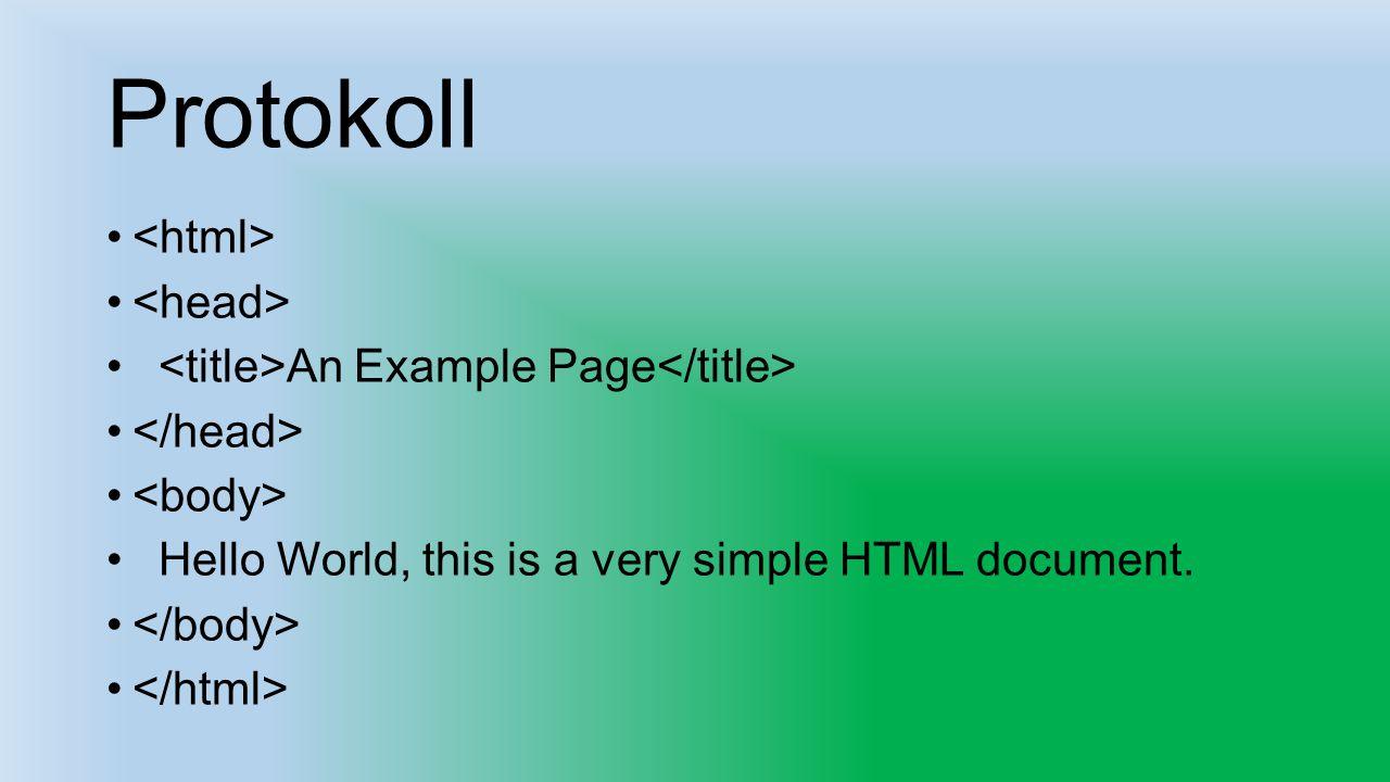 Protokoll <html> <head>