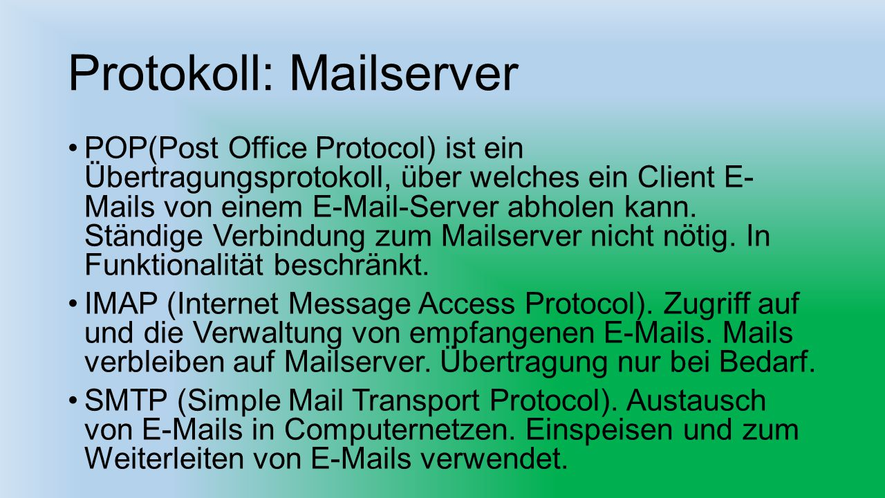 Protokoll: Mailserver