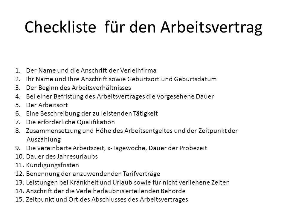 Checkliste für den Arbeitsvertrag