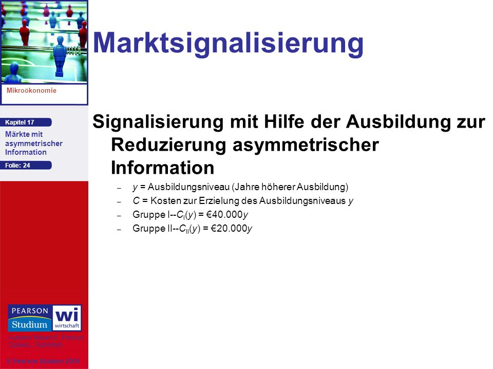 Marktsignalisierung Signalisierung mit Hilfe der Ausbildung zur Reduzierung asymmetrischer Information.