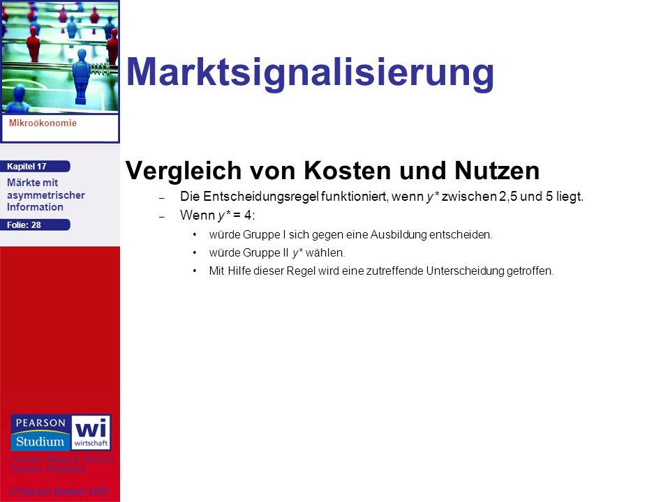 Marktsignalisierung Vergleich von Kosten und Nutzen