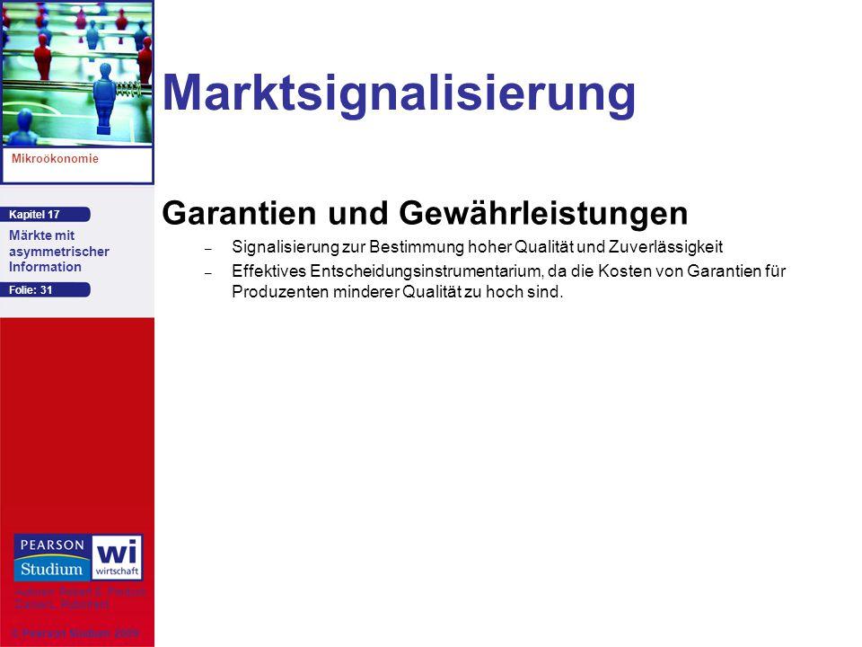 Marktsignalisierung Garantien und Gewährleistungen