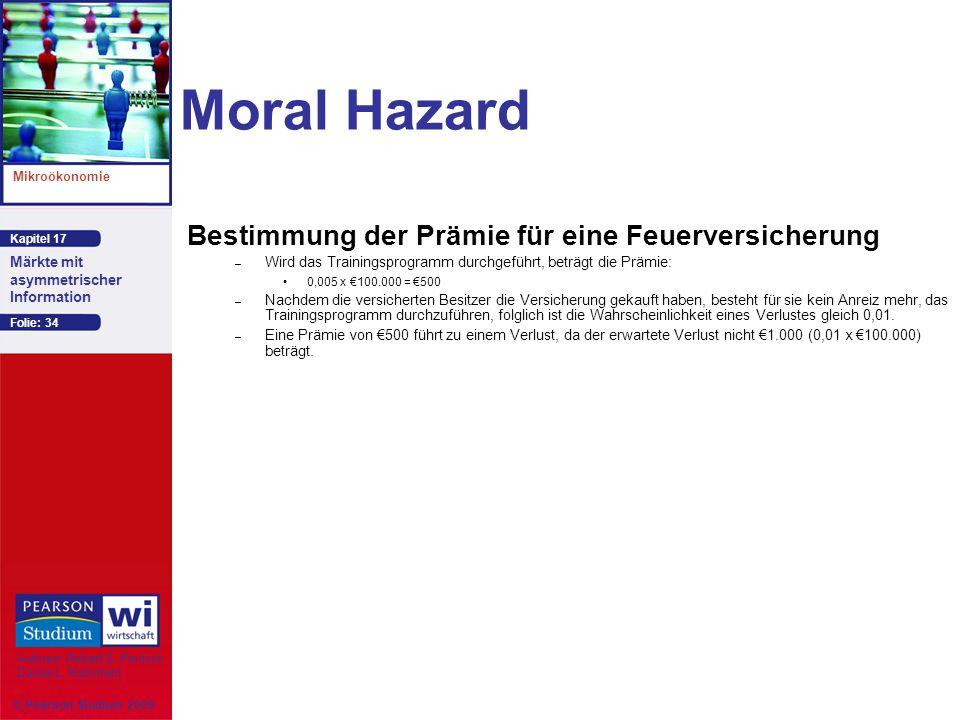 Moral Hazard Bestimmung der Prämie für eine Feuerversicherung 44
