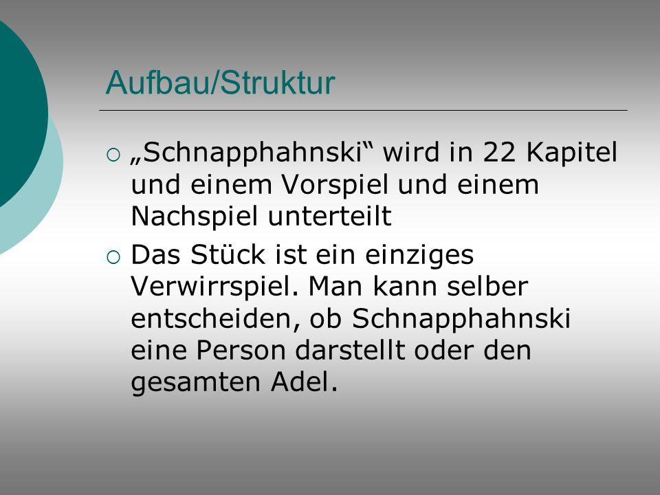 """Aufbau/Struktur """"Schnapphahnski wird in 22 Kapitel und einem Vorspiel und einem Nachspiel unterteilt."""
