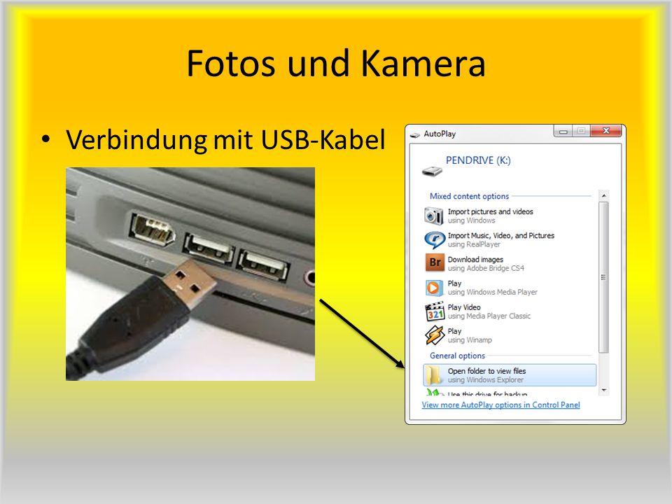Fotos und Kamera Verbindung mit USB-Kabel