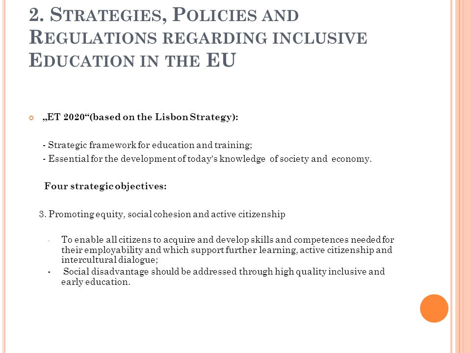 2. Strategies, Policies and Regulations regarding inclusive Education in the EU