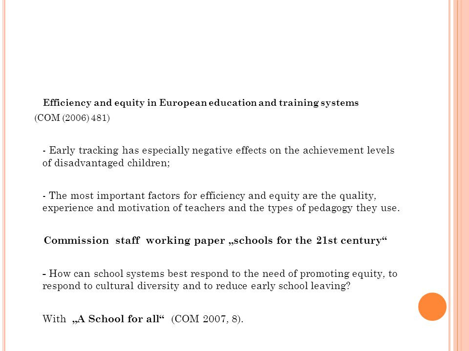 Efficiency and equity in European education and training systems