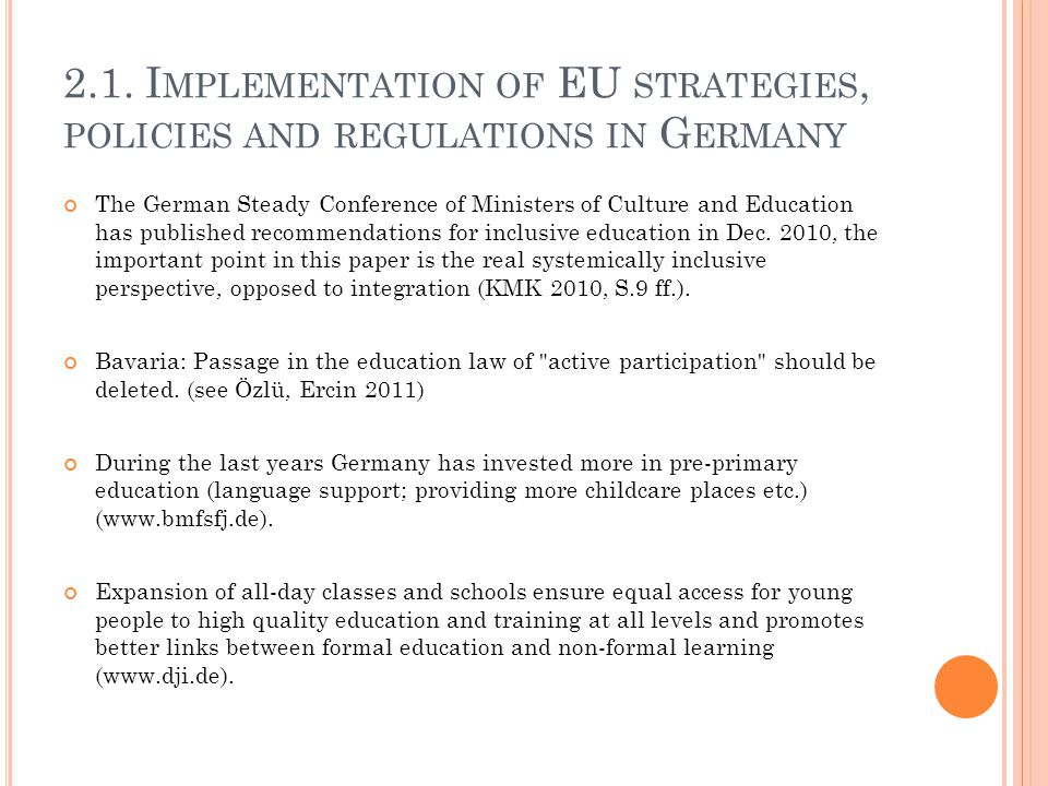 2.1. Implementation of EU strategies, policies and regulations in Germany