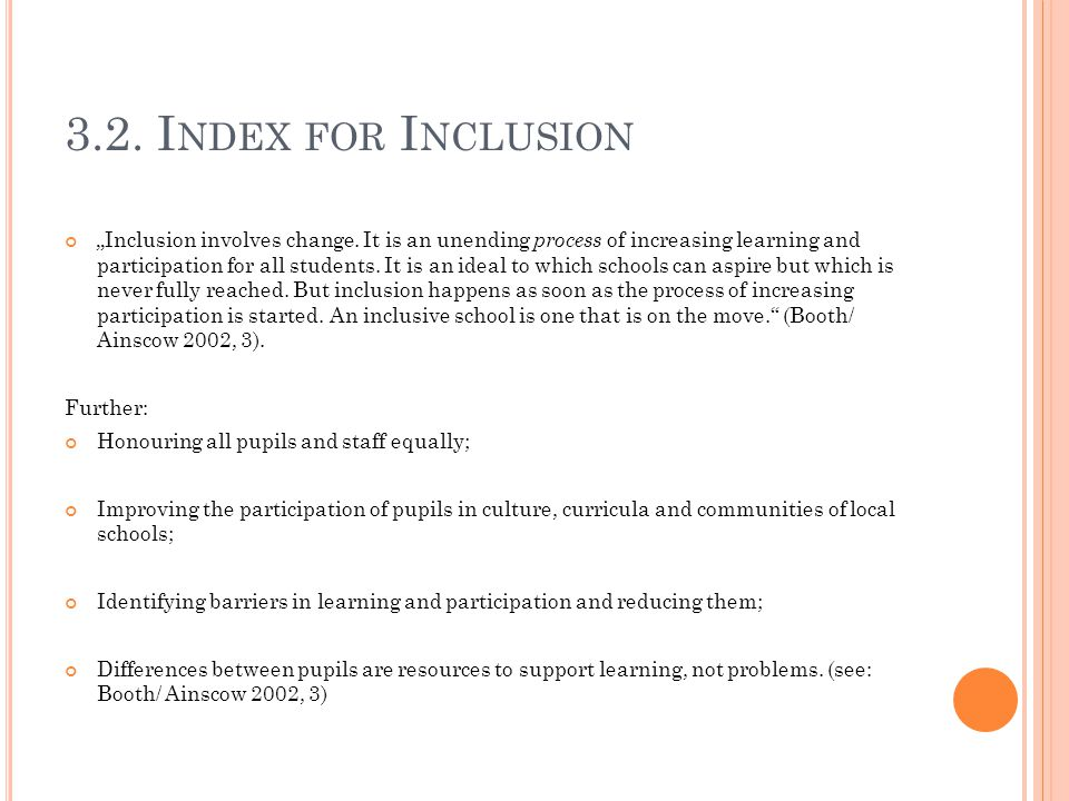 3.2. Index for Inclusion