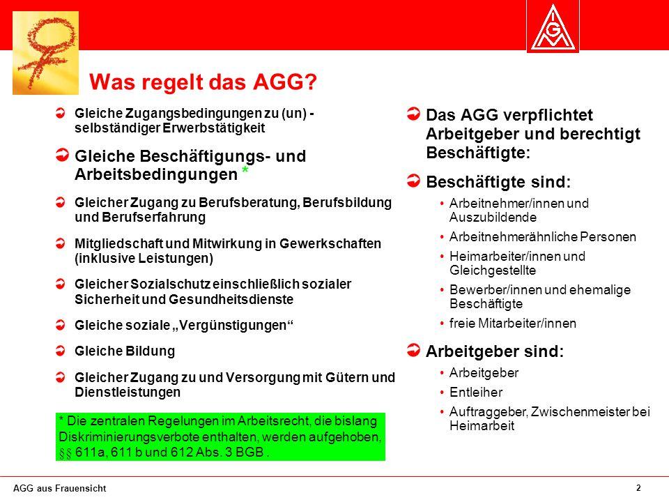 Was regelt das AGG Gleiche Zugangsbedingungen zu (un) - selbständiger Erwerbstätigkeit. Gleiche Beschäftigungs- und Arbeitsbedingungen *