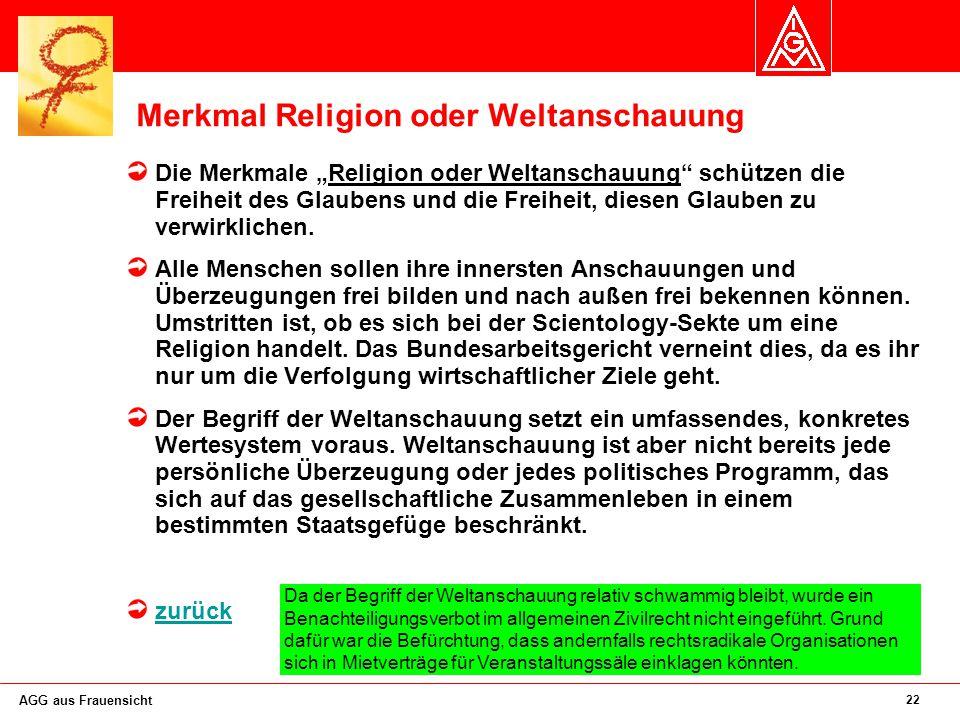 Merkmal Religion oder Weltanschauung