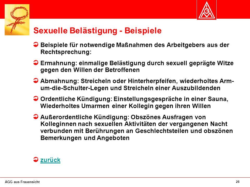 Sexuelle Belästigung - Beispiele